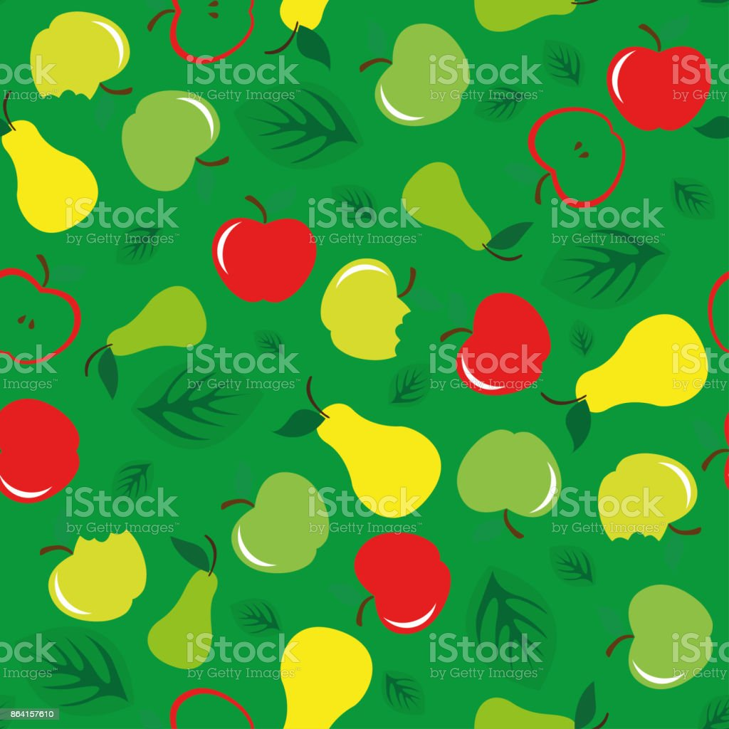 Apple and pear seamless pattern green background royalty-free apple and pear seamless pattern green background stock vector art & more images of abstract
