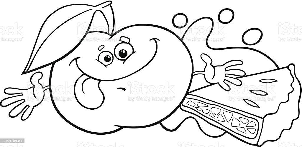 Vetores De Torta De Maca E Dos Desenhos Animados Para Colorir