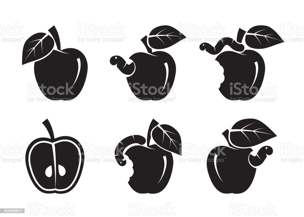 apple and worm. set of black icons vector art illustration