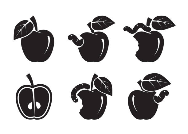 apple and worm. set of black icons - rotten apple stock illustrations, clip art, cartoons, & icons