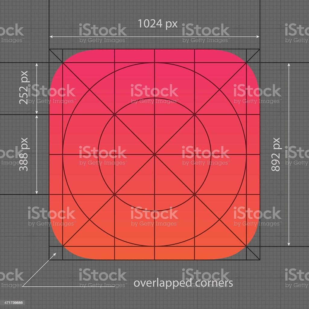 Apple app icon template with dimensions vector art illustration