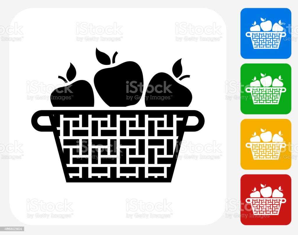 Apple Basket Icon Flat Graphic Design vector art illustration