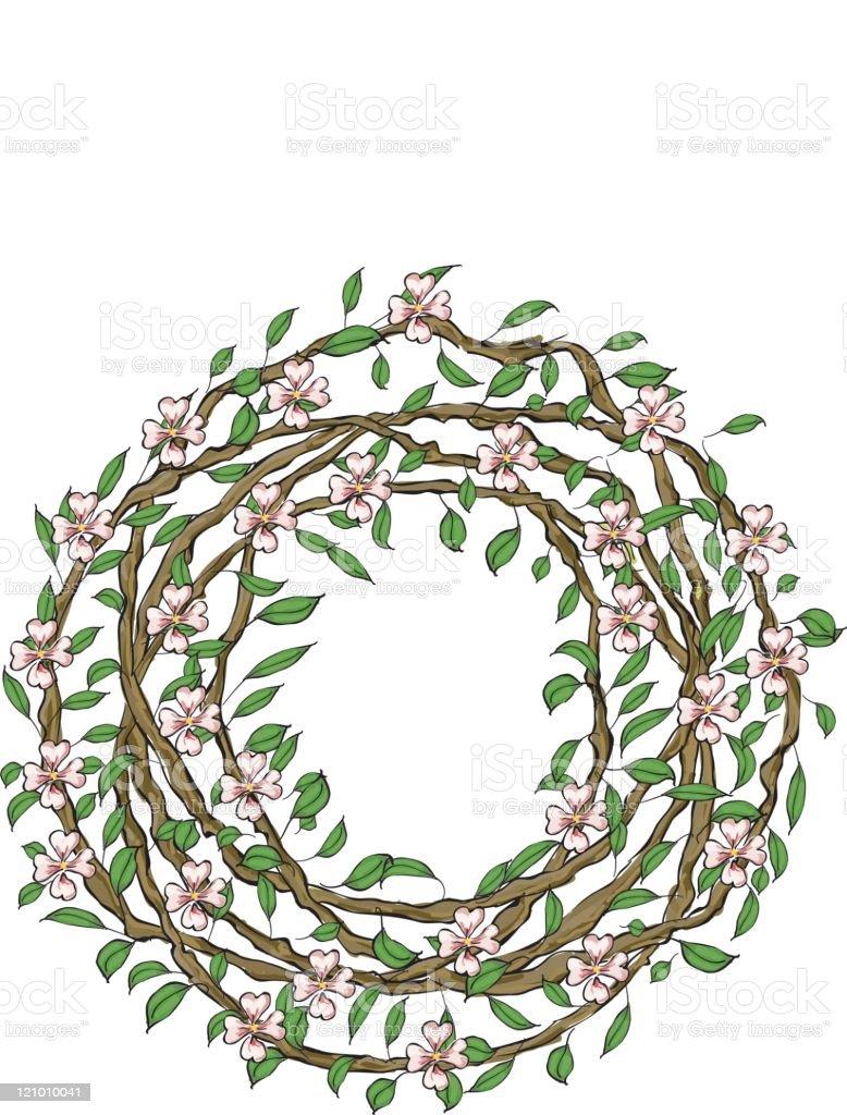 Apple Blossom wreath royalty-free stock vector art