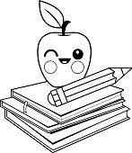 Apple, books and pencil. Black and white coloring book page.