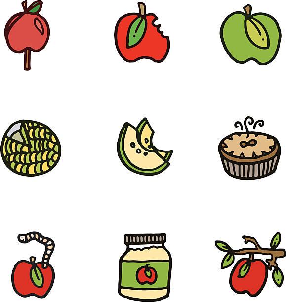 apple cartoon doodle icons - rotten apple stock illustrations, clip art, cartoons, & icons