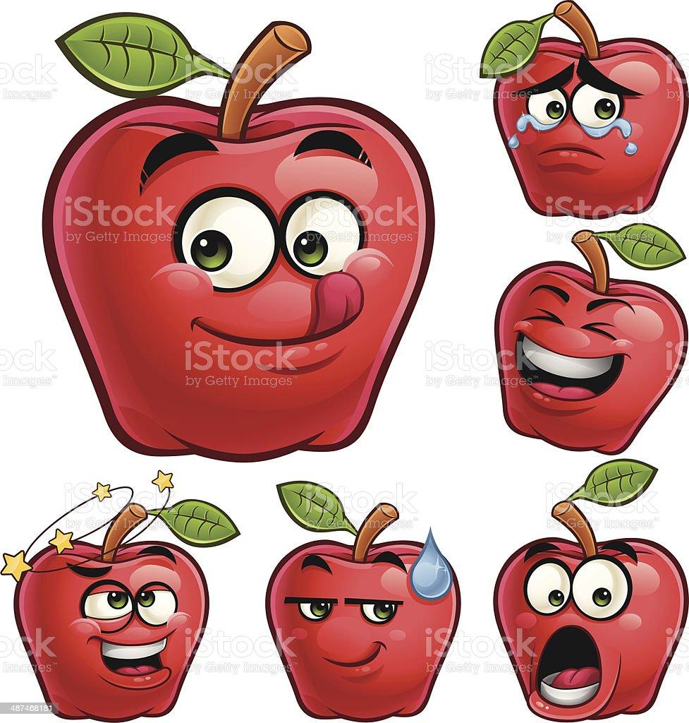 Apple Cartoon Set A royalty-free stock vector art
