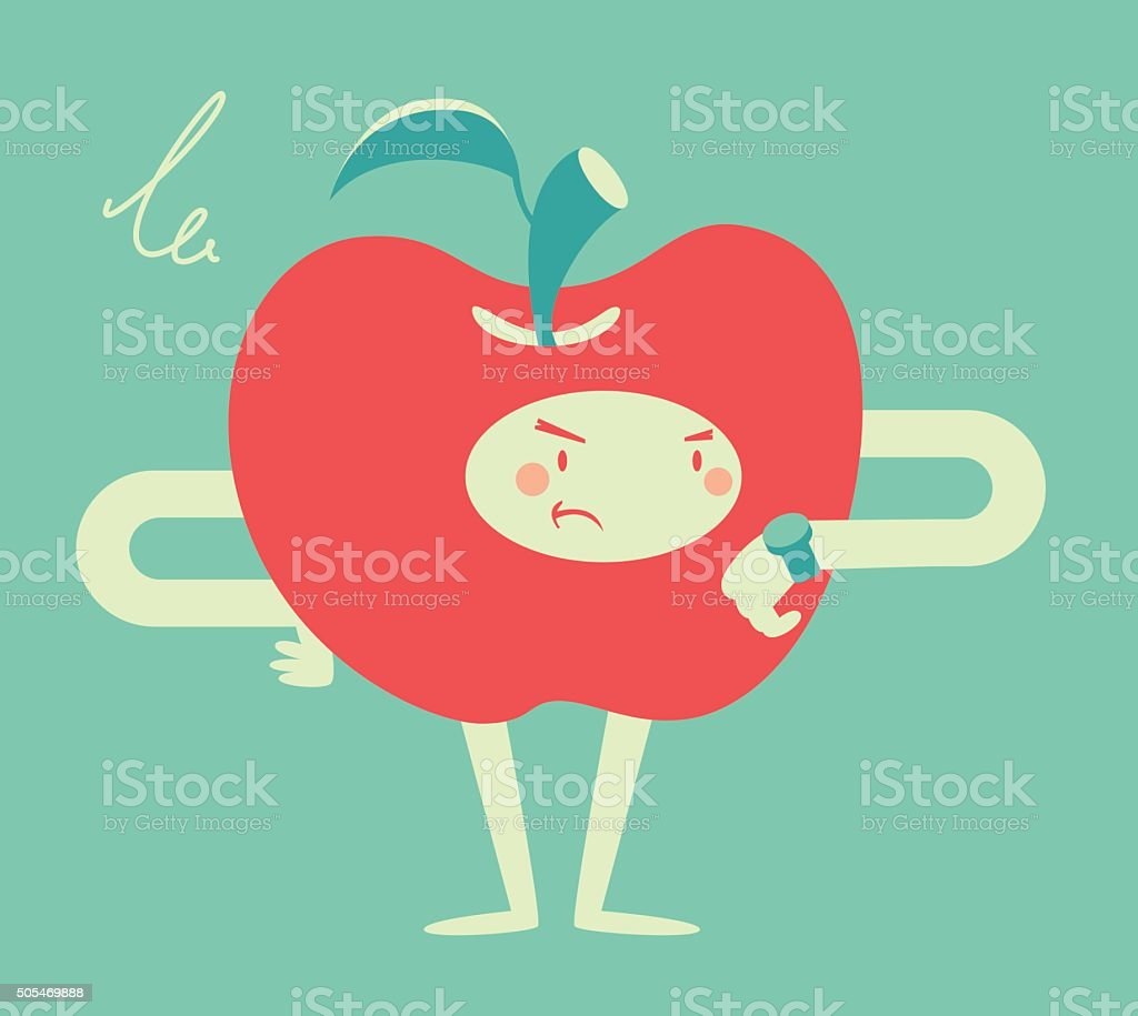 Apple Character Looking at a Watch vector art illustration
