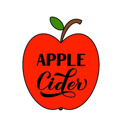 Apple Cider calligraphy lettering label. Vector template for typography poster, banner, flyer, sticker, t-shirt, logo design, etc