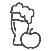 Apple cider line icon. Glass of cider vector illustration isolated on white. Glass of alcohol outline style design, designed for web and app. Eps 10