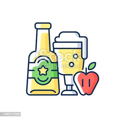 istock Apple cider RGB color icon 1285227035