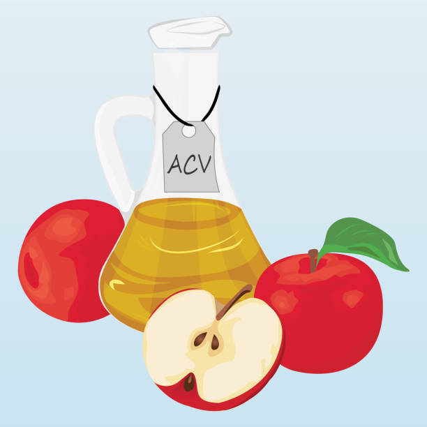 Apple cider vinegar and apples Apple cider vinegar and apples vector illustration apple cider vinegar stock illustrations