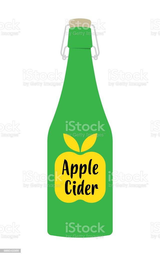 Apfelessig in der Flasche – Vektorgrafik