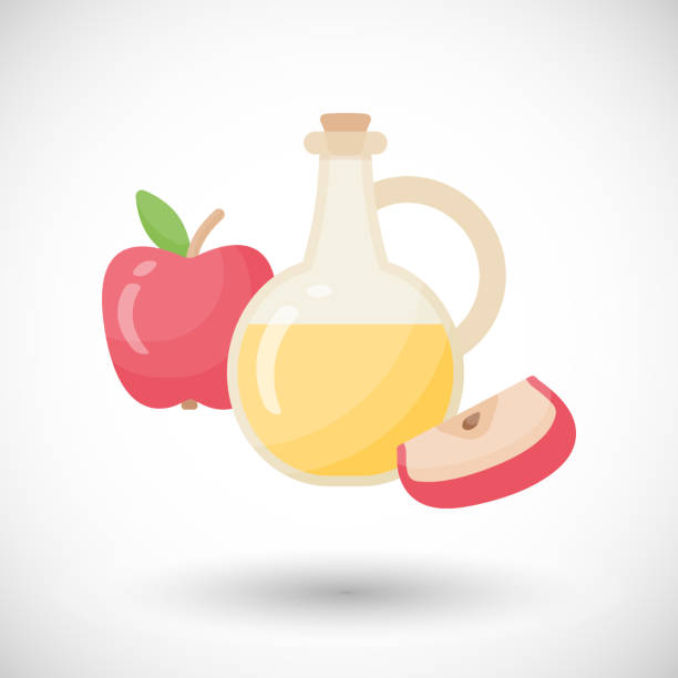 apple apfelessig vektor flach-symbol - dressing stock-grafiken, -clipart, -cartoons und -symbole