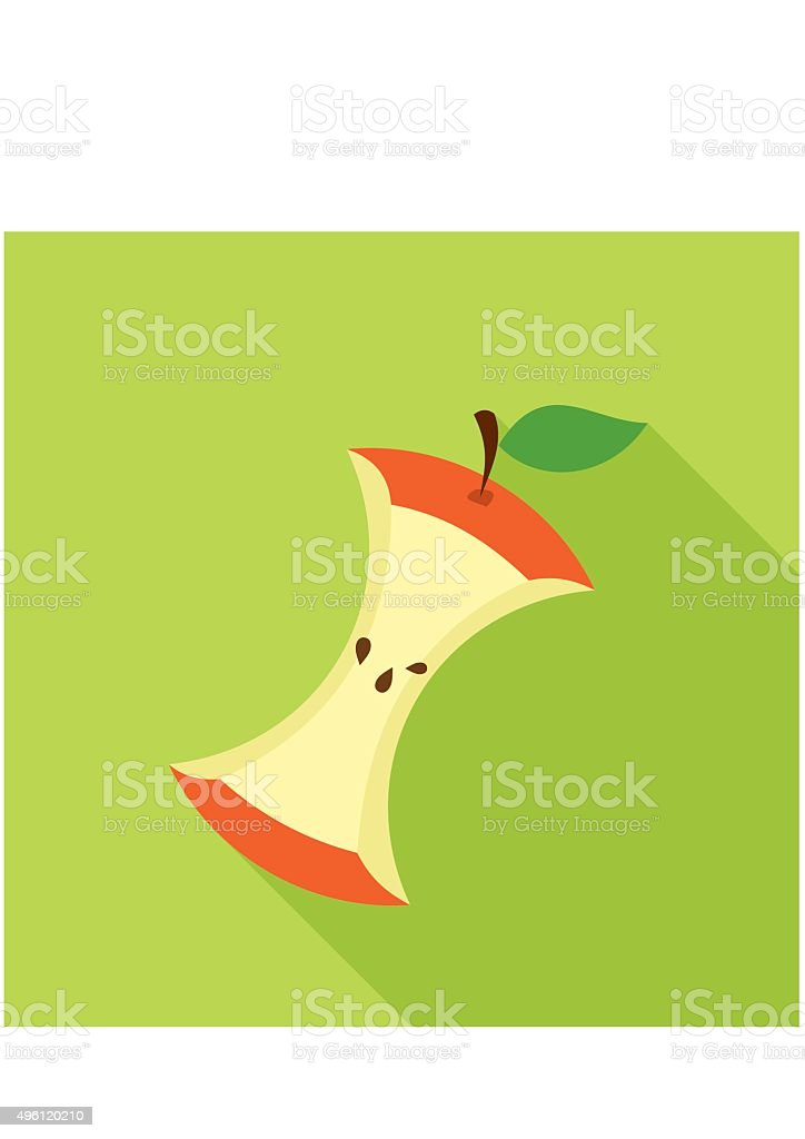 Apple Core in Flat style with shadow on green background. vector art illustration