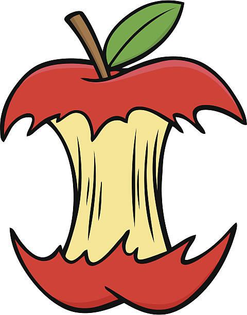 apple core - rotten apple stock illustrations, clip art, cartoons, & icons