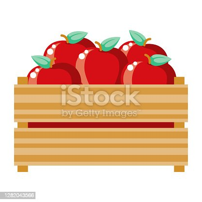 istock Apple Crate Icon on Transparent Background 1282043566