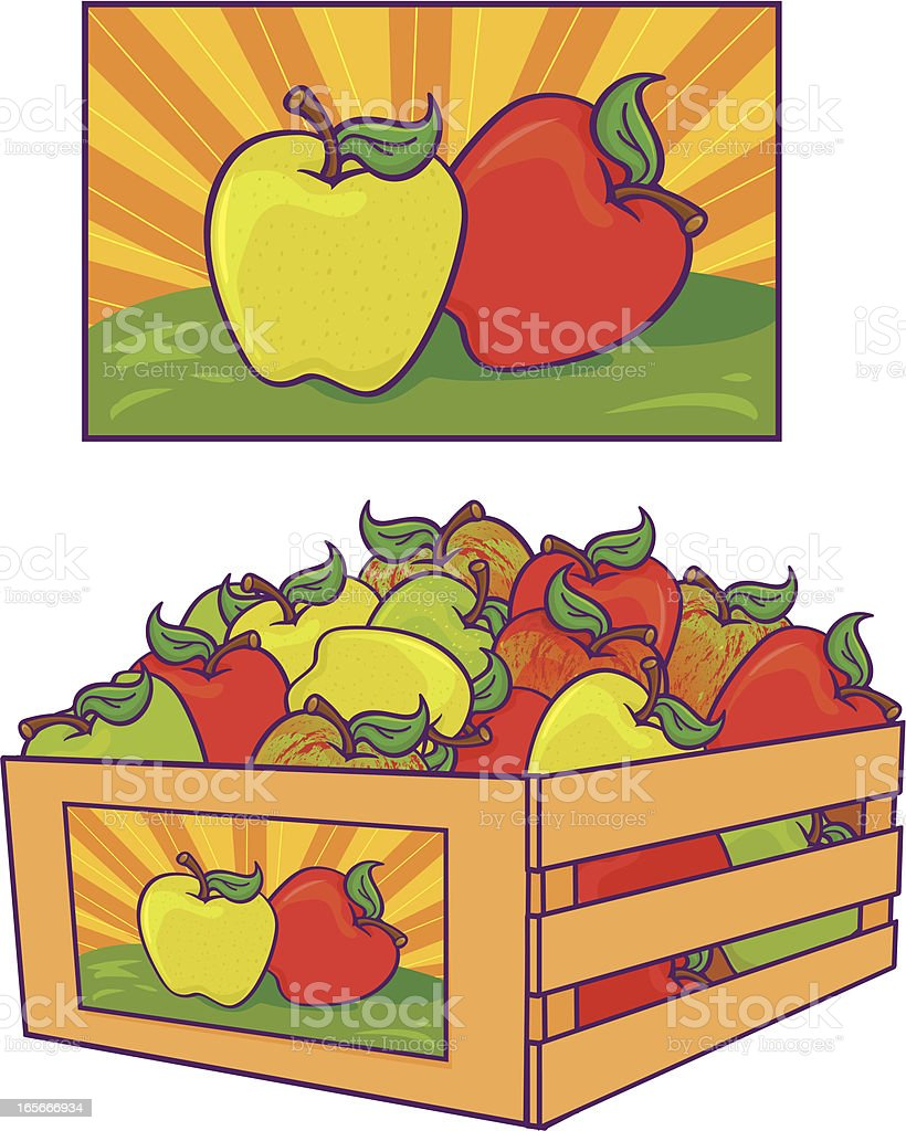 Apple crate royalty-free apple crate stock vector art & more images of apple - fruit