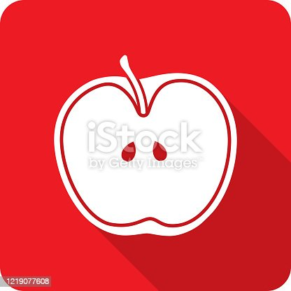 Vector illustration of a red apple cut in half icon in flat style.