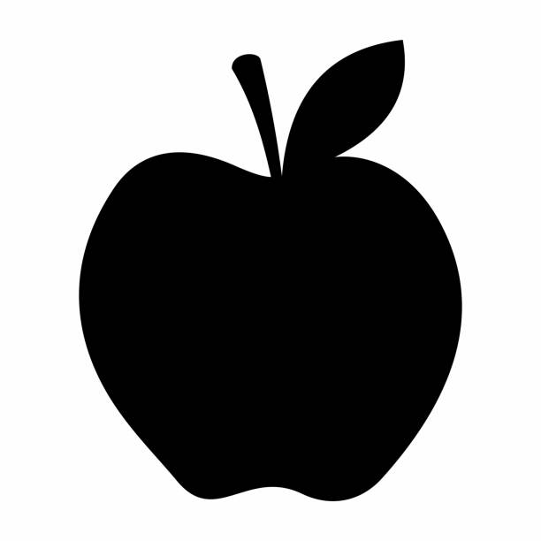 apple dark silhouette - square foot garden stock illustrations, clip art, cartoons, & icons