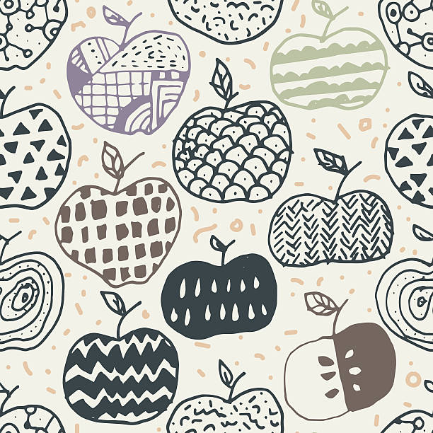 illustrazioni stock, clip art, cartoni animati e icone di tendenza di apple doodle seamless pattern - pesche bambino