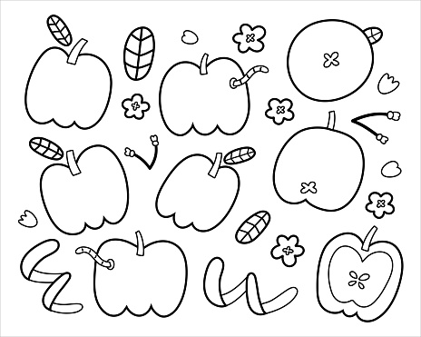 Apple doodles collection, cute apple fruit with leaves, worm, blooming flowers and branches, trendy outline drawing, black and white hand drawn art, isolated vector illustrations on white