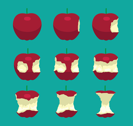 Apple Eating Sequence Vector Illustration
