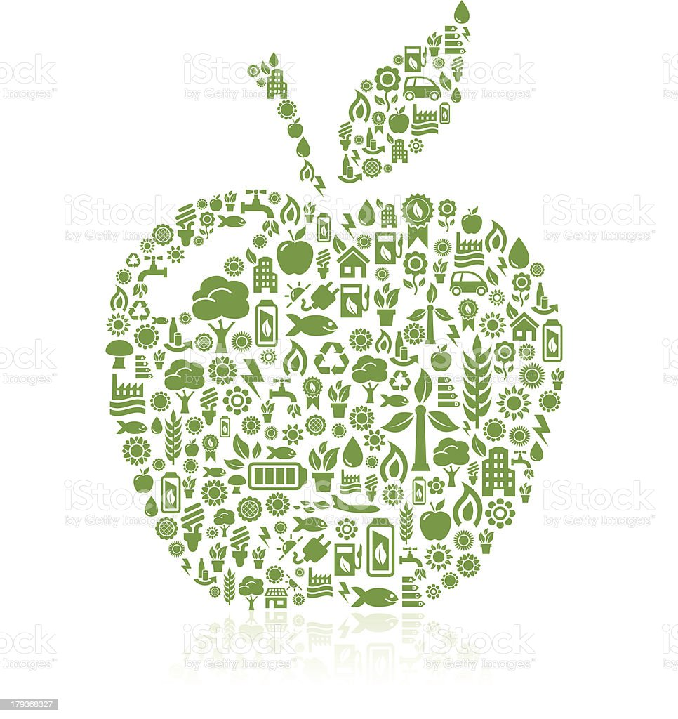 Apple ecology icons royalty-free stock vector art