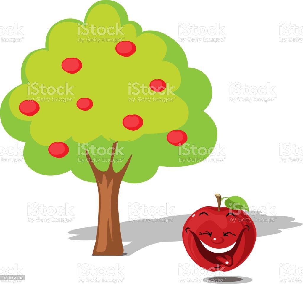 Ilustración De Manzana Cayendo Del árbol Diseño Plano