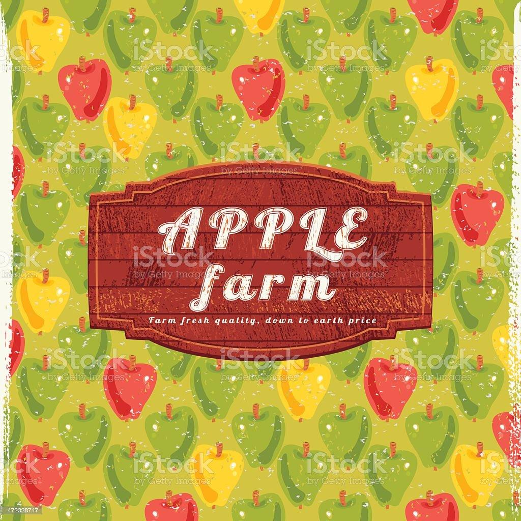 Apple Farm Sign vector art illustration