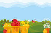 Fruit Farm. Vector illustration.