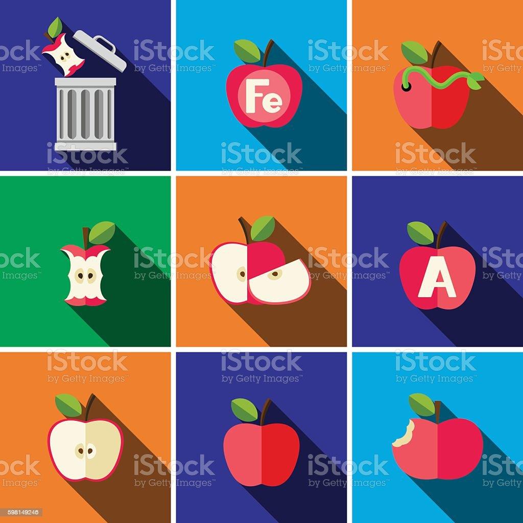 Apple flat icon set vector art illustration