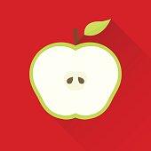 Apple flat design icon. Global colour used.