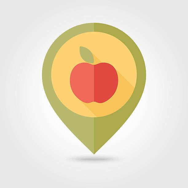 Apple flat pin map icon. Fruit vector art illustration