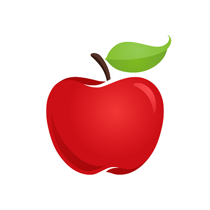 Apple vector icon, flat style isolated illustration, hand drawn sign, symbol.