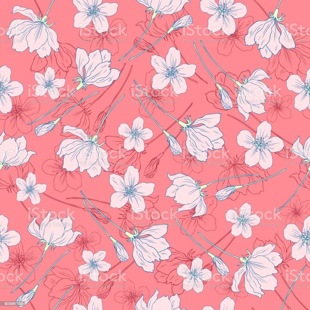 pomme fleurs arbre fleur colorée botanique croquis dessinés à la