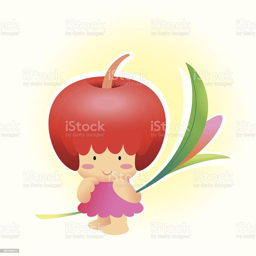 Frutta Mela ragazza capelli frutta mela ragazza capelli - immagini vettoriali stock e altre immagini di allegro royalty-free