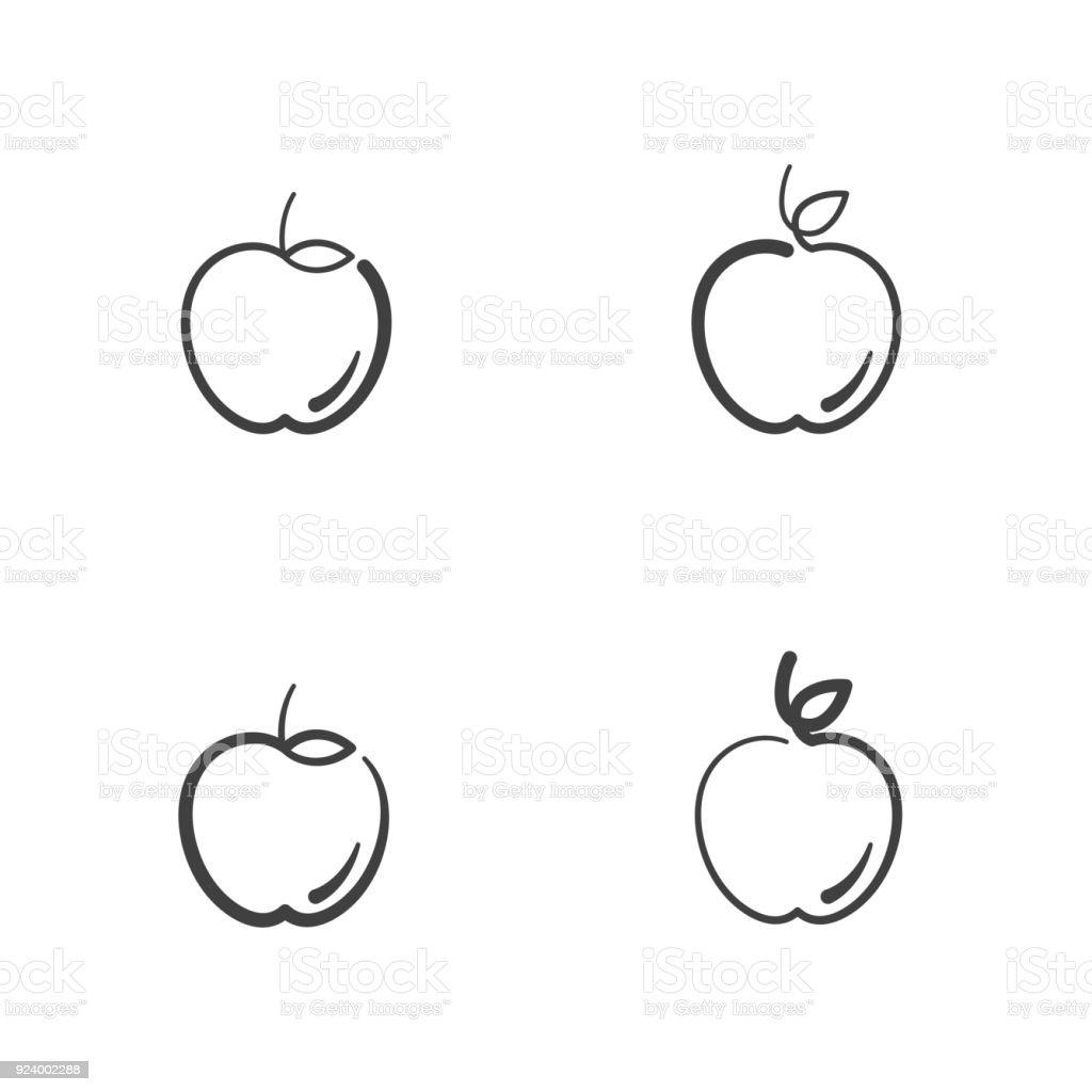 Ilustración de Iconos De Frutas Manzana Contorno Color De Trazo ...