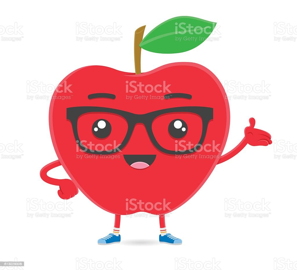 Apple fruit smart hipster cartoon character with glasses vector art illustration