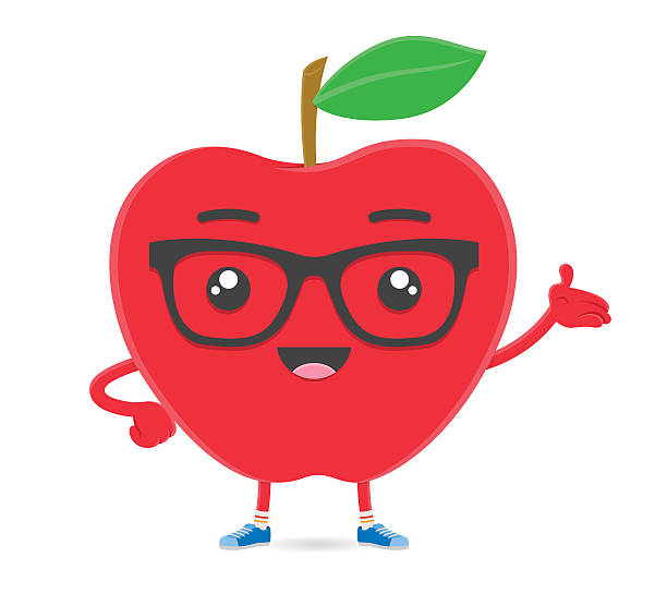 royalty free apple fruit smart hipster cartoon character with