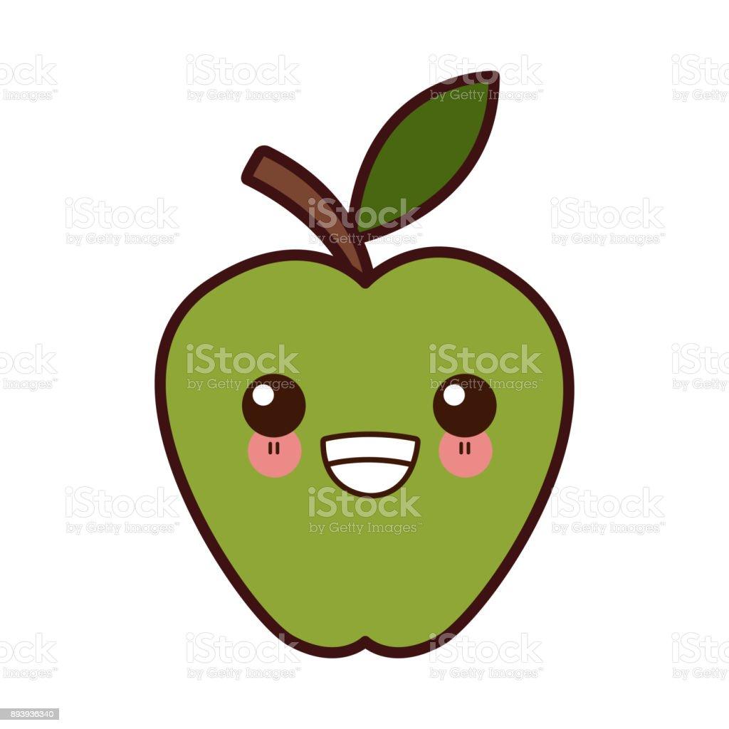 Vetores De Maçã Fruta Símbolo Kawaii Bonito Dos Desenhos
