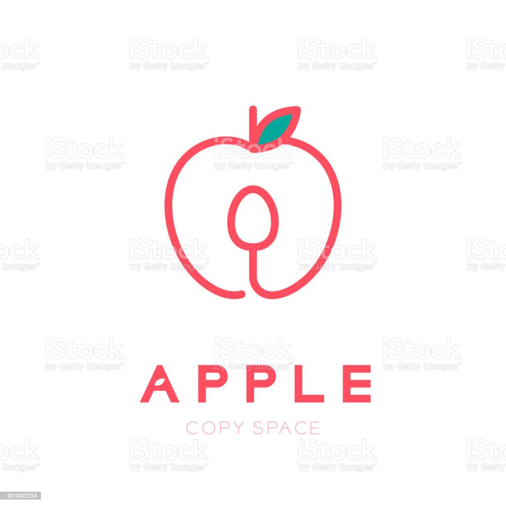 Apple Fruit With Spoon Symbol Icon Outline Stroke Set Design