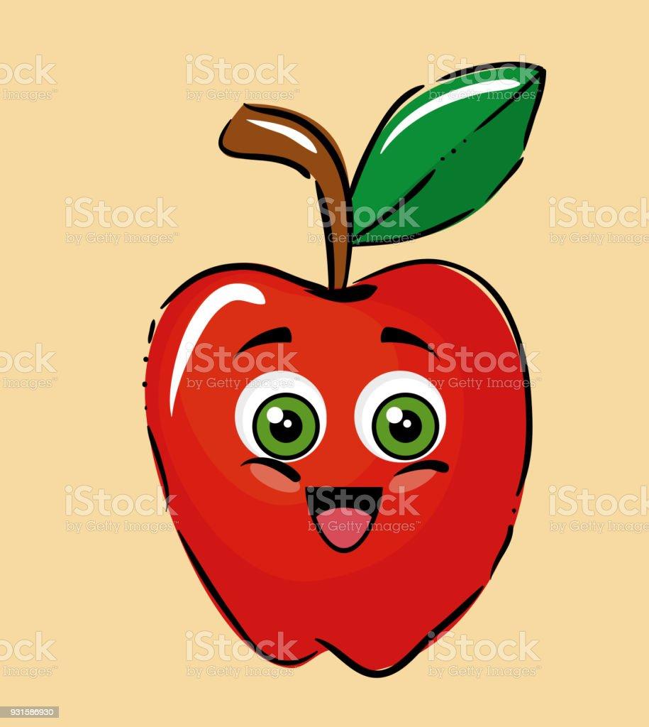 Ilustración de Caracteres Cómicos De Frutas Manzana y más banco de ...
