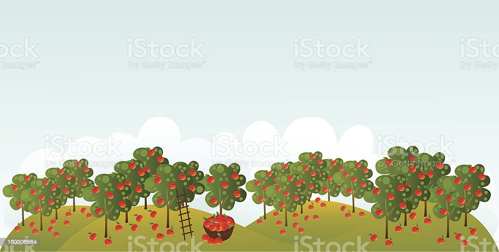 Apple garden vector art illustration