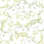 istock Apple graphic green color sketch seamless pattern background illustration vector 1248420346