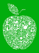 Apple Green Garden and Gardening Background Pattern. The  Garden and Gardening vector icons form a seamless pattern to completely fill in the main object. The icons vary in size and are carefully arranged. They are white in color and the background is a solid green. This image includes various icons that represent gardening. Some of the icons are drops of water, leaves and plants and many more icons ideal for the agriculture and gardening projects.