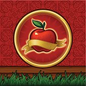 A vector Illustration of an iconic and textured Red Apple surrounded by a golden ribbon. The apple is complete so you can take the ribbon away. Basic gradients and blends were used. The background is a seamless ornamental texture using apples as the main motif. Smart grouping used for editability.
