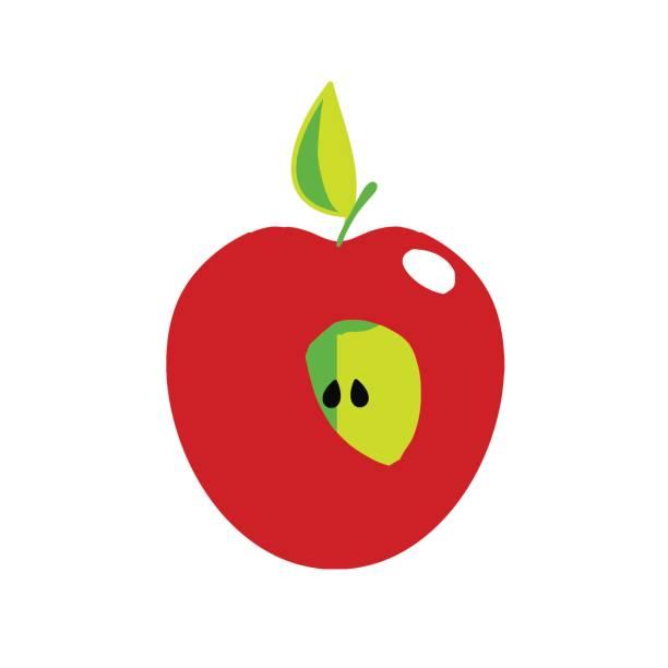 Apple アイコン - フルーツをカットします。 ベクターアートイラスト