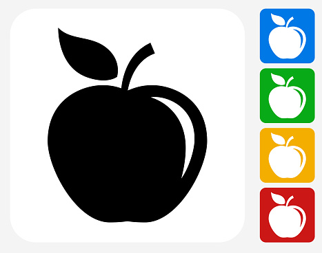 Apple Icon. This 100% royalty free vector illustration features the main icon pictured in black inside a white square. The alternative color options in blue, green, yellow and red are on the right of the icon and are arranged in a vertical column.