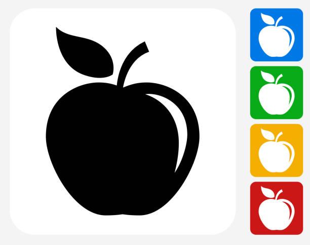 illustrazioni stock, clip art, cartoni animati e icone di tendenza di grafica design piatto icona apple - mela