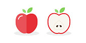 Apple icon. Fresh fruit. Whole apple and split in half. Vector illustration, flat and minimal style